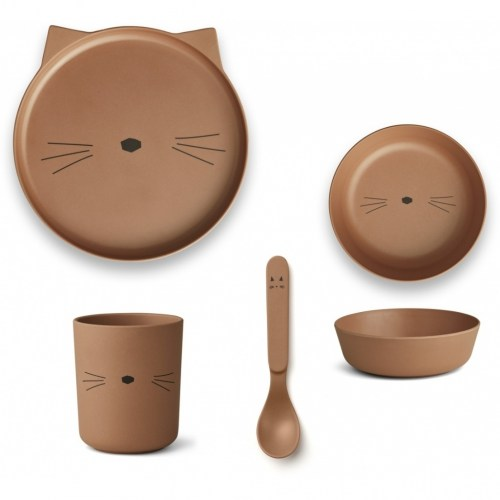 Liewood - Bamboe servies set Cat terracotta